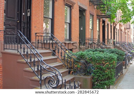 Brownstone Brooklyn/views of classic homes in Cobble Hill neighborhood of Brooklyn - stock photo