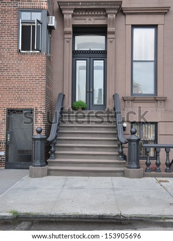 Brownstone Home Entrance Steps Banister