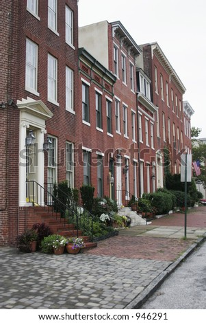 brownstone town home in baltimore maryland - stock photo