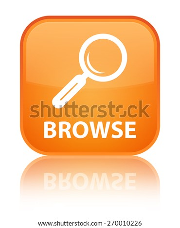 Browse orange square button - stock photo