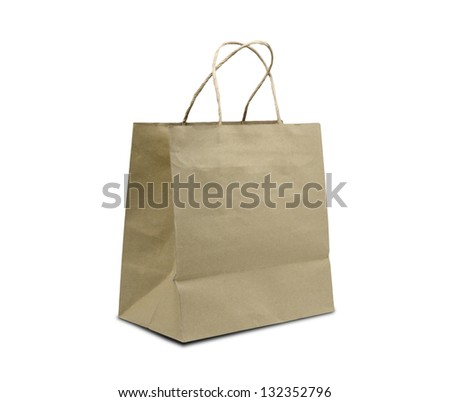 Browse recycled paper bag ,isolated on white background - stock photo