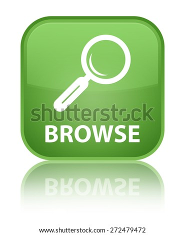 Browse soft green square button - stock photo