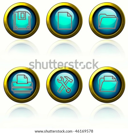 Browser buttons set - cyan buttons on white background. - stock photo