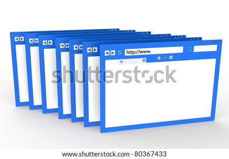 Browser. Row of Browsers. Blue with ground reflection