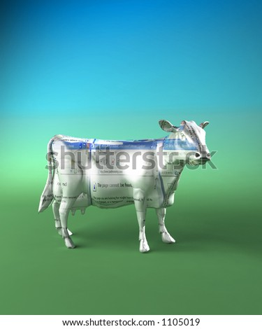 browsing a cow with an internet page superimposed - stock photo