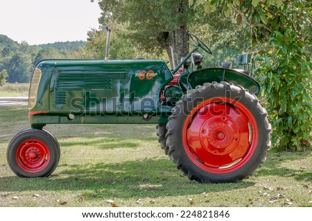 BRUCE, MS/USA - SEPTEMBER 2014: Local man who collects and repairs vintage tractors' displays several of them at his residence in Calhoun County.
