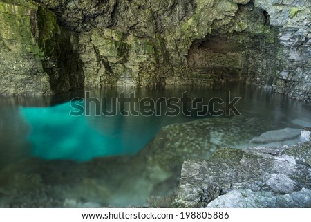 Bruce peninsula national park, inside the grotto with a wide angle. - stock photo