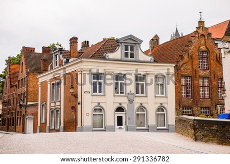 BRUGE, BELGIUM - JUN 5, 2015:House  of the Historic Centre of Bruges, Belgium. part of the UNESCO World Heritage site