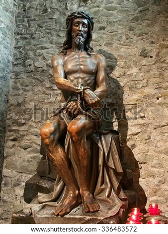 BRUGES, BELGIUM - AUG 23: Statue of Jesus Christ at the Basilica of the Holy Blood in Bruges, Belgium on August 23, 2013. Bruges is the capital of the province of West Flanders in Belgium.