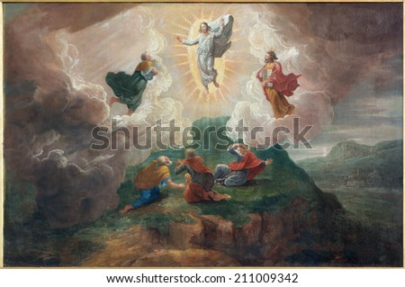BRUGES, BELGIUM - JUNE 12, 2014: The Transfiguration of the Lord by D. Nollet (1694) in st. Jacobs church (Jakobskerk).  - stock photo