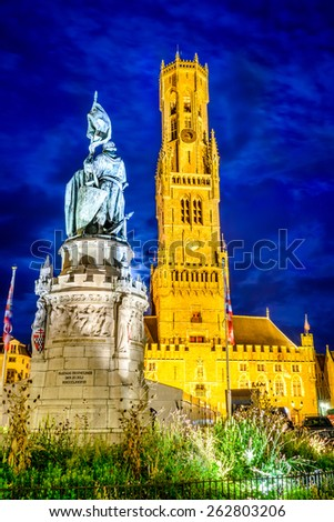 Bruges, Belgium. Markt is dominated by the Belfry or Belfort octagonal belltower with 83 m built in 13th century. Bruges, West Flanders. - stock photo