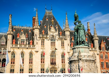 Bruges, Belgium. Provinciaal Hof built in 1284 neogothical building on the Grote Markt place in Bruges, Belgium. - stock photo