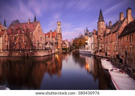 Bruges (Brugge), Belgium: view from Rozenhoedkaai at dusk - stock photo