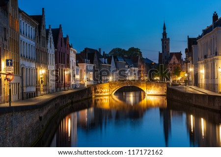 Bruges (Brugge) canal in the evening, Belgium - stock photo
