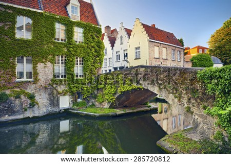 Bruges. Image of Bruges, Belgium during summer sunset. - stock photo