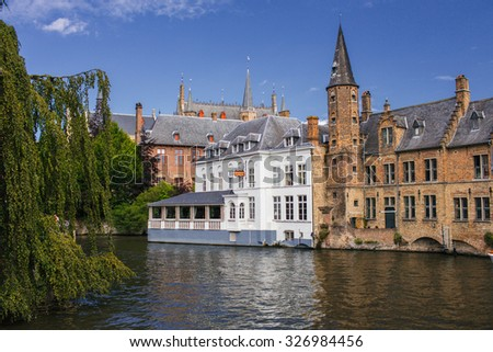 Bruges the most beautiful city in Europe, old town - stock photo