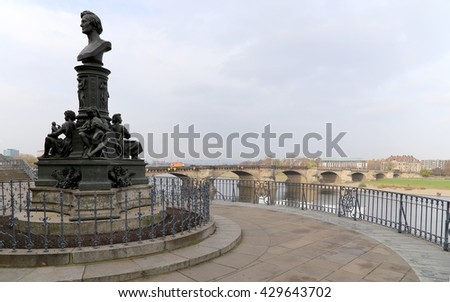 Bruhl Terrace, a historic architectural ensemble in Dresden,  Germany  - stock photo