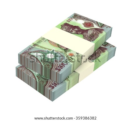 Brunei dollar bills isolated on white background. Computer generated 3D photo rendering. - stock photo