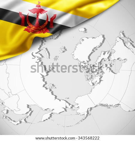 Brunei  flag of silk with copyspace for your text or images and world map background - stock photo