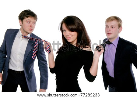 Brunette and two men in suits