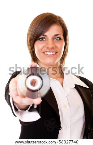 brunette attractive businesswoman in black suit holding cd