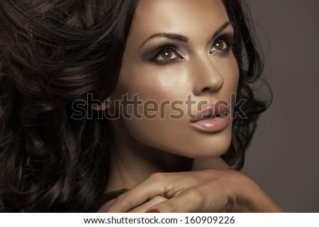 Brunette beauty - stock photo