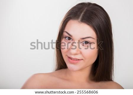 Brunette beauty portrait. - stock photo