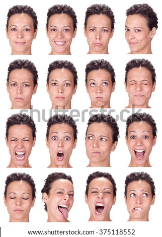 brunette black hair young caucasian woman collection set of face expression like happy, sad, angry, surprise, yawn isolated on white - stock photo
