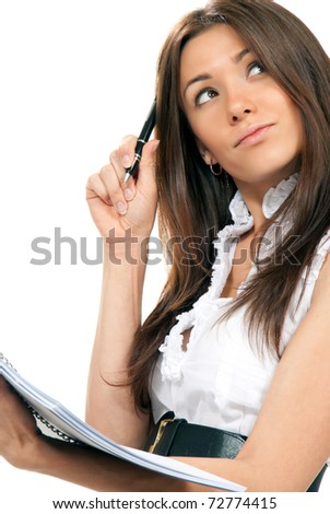 Brunette Business woman standing thinking and looking at corner with pen in the hand notebook organizer paper in casual dress on a white background - stock photo