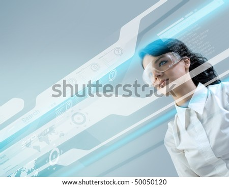 Brunette businesswoman in future -  Attractive young adults in futuristic interfaces / interiors series - stock photo