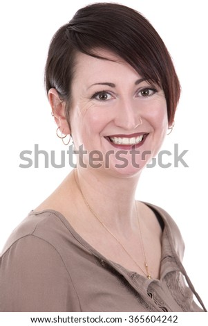 brunette caucasian casual woman on white isolated background