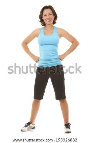 brunette caucasian fitness model exercising on white background - stock photo
