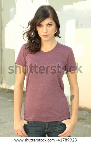 brunette female fashion model in casual clothes - stock photo