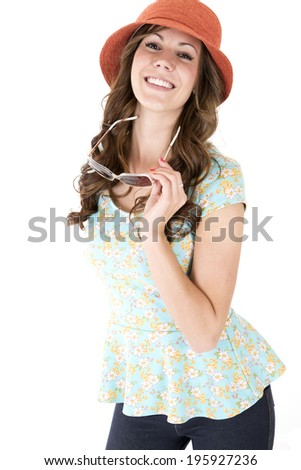 Brunette female model astonished or surprised expression