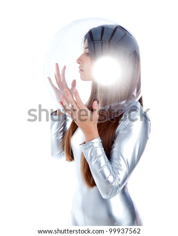 brunette futuristic silver woman profile with sphere glass helmet