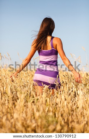 Brunette girl in short dress at wheat field. - stock photo