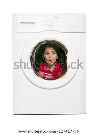 brunette girl in the washing machine - stock photo