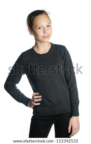 Brunette girl isolated on a over white background