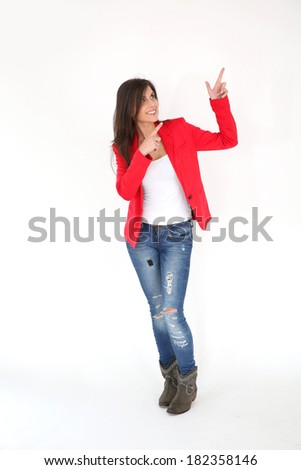 Brunette girl pointing at message, white background