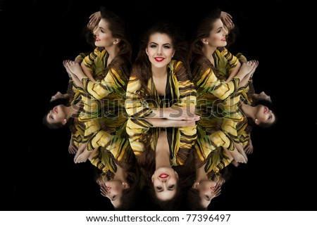 brunette girl shopping bag kaleidoscope mirrors smiling - stock photo