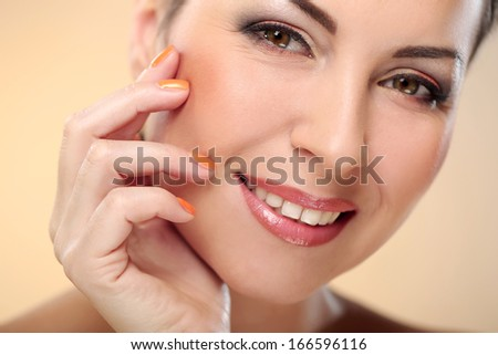 Brunette lady showing her wonderful body - stock photo