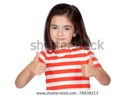 Brunette little girl saying Ok isolated on a over white background - stock photo