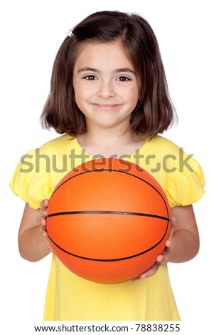 Brunette little girl with a basketball isolated on a over white background - stock photo