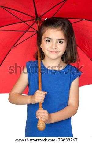 Brunette little girl with a red umbrella isolated on a over white background - stock photo