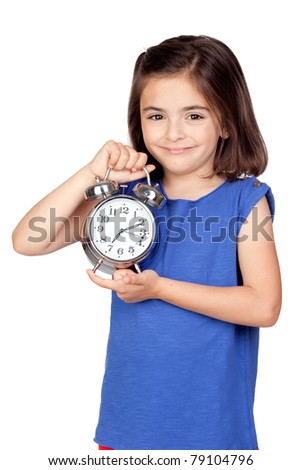 Brunette little girl with a silvered alarm-clock a isolated on a over white background - stock photo