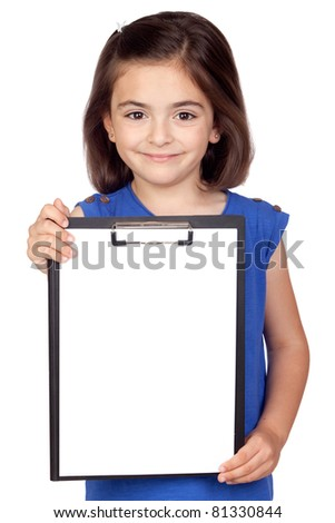 Brunette little girl with clipboard isolated on a over white background - stock photo