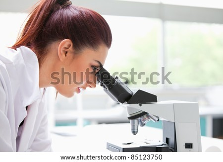 Brunette looking into a microscope in a laboratory - stock photo
