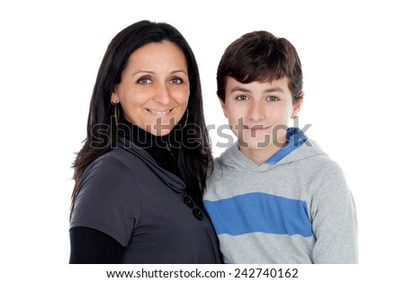 Brunette mother with his teenager son isolated on a white background - stock photo