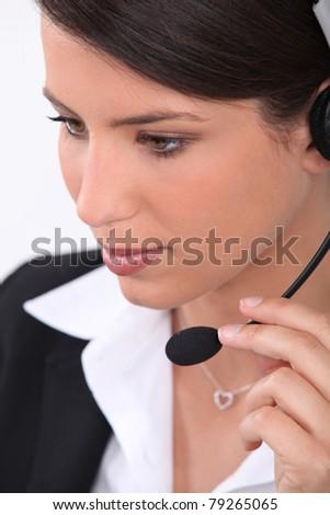 Brunette office worker - stock photo