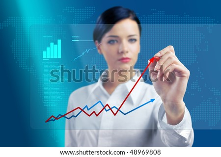 Brunette outlines chart in virtual space (outstanding business people in interiors / interfaces series) - stock photo
